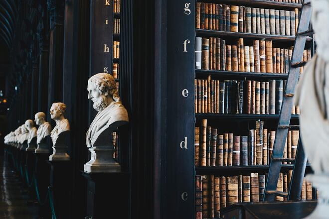 A library with white marble busts of historic men